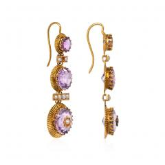 French 19th Century Gold Amethyst and Seed Pearl Earrings - 1095738
