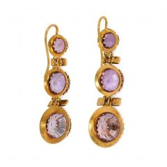 French 19th Century Gold Amethyst and Seed Pearl Earrings - 1095740