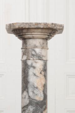 French 19th Century Grey and White Marble Pedestal - 1044170