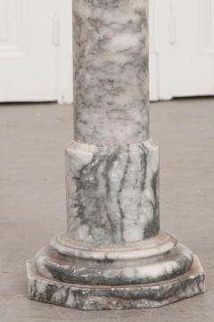 French 19th Century Grey and White Marble Pedestal - 1044171