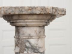 French 19th Century Grey and White Marble Pedestal - 1044173