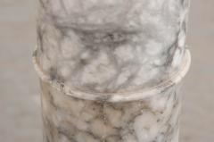 French 19th Century Grey and White Marble Pedestal - 1044175