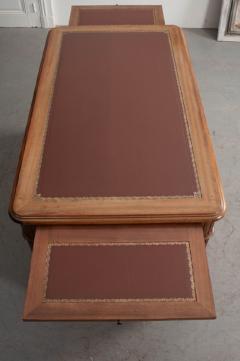 French 19th Century Louis XVI Style Mahogany and Oak Pedestal Desk - 1817330