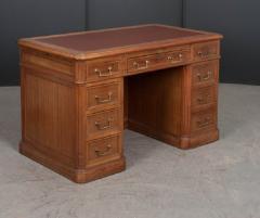 French 19th Century Louis XVI Style Mahogany and Oak Pedestal Desk - 1817338