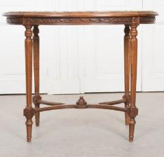 French 19th Century Louis XVI Style Oak Marble Top Table - 1817353