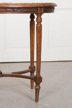 French 19th Century Louis XVI Style Oak Marble Top Table - 1817354