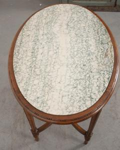 French 19th Century Louis XVI Style Oak Marble Top Table - 1817355