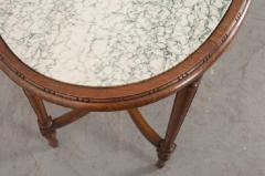 French 19th Century Louis XVI Style Oak Marble Top Table - 1817357