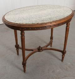 French 19th Century Louis XVI Style Oak Marble Top Table - 1817359