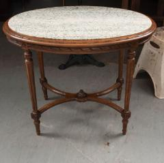 French 19th Century Louis XVI Style Oak Marble Top Table - 1817362