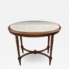 French 19th Century Louis XVI Style Oak Marble Top Table - 1827147