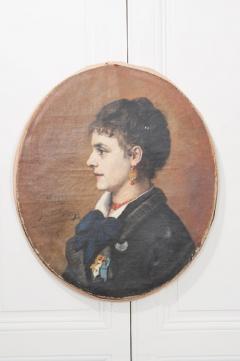 French 19th Century Oil Profile Portrait - 582865
