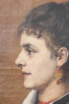 French 19th Century Oil Profile Portrait - 582868