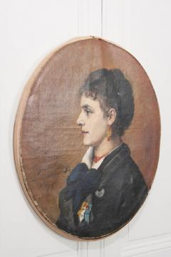 French 19th Century Oil Profile Portrait - 582869