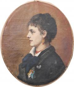 French 19th Century Oil Profile Portrait - 583813
