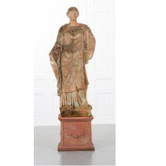 French 19th Century Terracotta Statue on Pedestal - 1924386