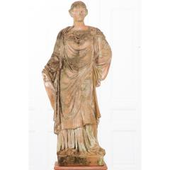 French 19th Century Terracotta Statue on Pedestal - 1924388