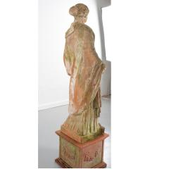 French 19th Century Terracotta Statue on Pedestal - 1924397
