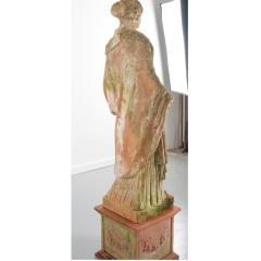 French 19th Century Terracotta Statue on Pedestal - 1924401