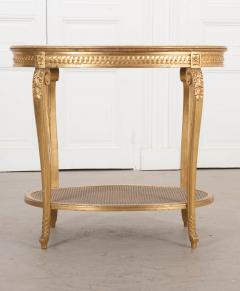 French 19th Louis XVI Style Oval Giltwood Occasional Table - 1075253