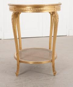 French 19th Louis XVI Style Oval Giltwood Occasional Table - 1075254