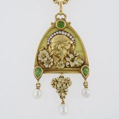 French Antique Gold Enamel Diamond Peridot and Plique Jour Juliet Pendant - 112484
