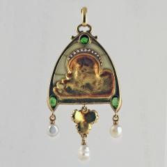 French Antique Gold Enamel Diamond Peridot and Plique Jour Juliet Pendant - 112485
