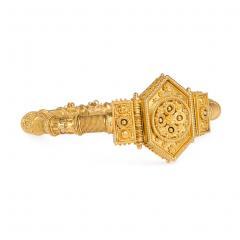 French Antique Gold Etruscan Revival Bangle Bracelet - 1162277