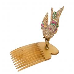 French Antique Gold and Gemset En Tremblant Hummingbird Brooch Hair Comb - 1861540