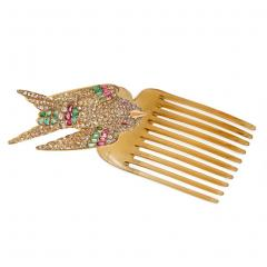 French Antique Gold and Gemset En Tremblant Hummingbird Brooch Hair Comb - 1861541