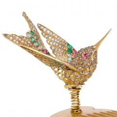 French Antique Gold and Gemset En Tremblant Hummingbird Brooch Hair Comb - 1861542