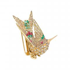 French Antique Gold and Gemset En Tremblant Hummingbird Brooch Hair Comb - 1864278