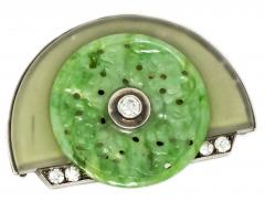 French Art Deco 1920s Platinum Onyx Rock Crystal Diamond Jade Geometric Brooch - 875236