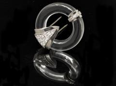 French Art Deco 1920s Rock Crystal Platinum Geometric Brooch - 875243
