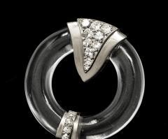French Art Deco 1920s Rock Crystal Platinum Geometric Brooch - 875244