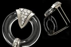 French Art Deco 1920s Rock Crystal Platinum Geometric Brooch - 875282