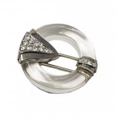 French Art Deco 1920s Rock Crystal Platinum Geometric Brooch - 876142
