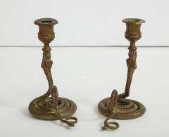 French Art Deco Brass Cobra Candlesticks - 1241219
