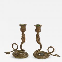 French Art Deco Brass Cobra Candlesticks - 1243879