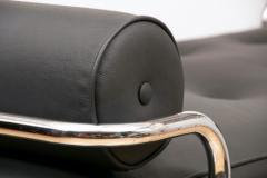 French Art Deco Chaise Longue tubular chrome frame with black leather upholstery - 1744473
