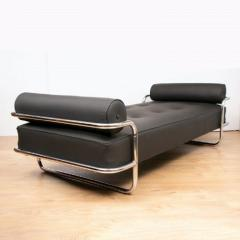 French Art Deco Chaise Longue tubular chrome frame with black leather upholstery - 1744475