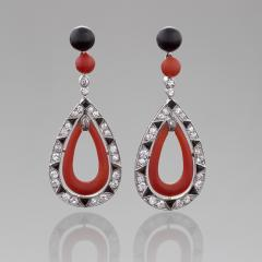 French Art Deco Coral Diamond Onyx and Platinum Earrings - 252673
