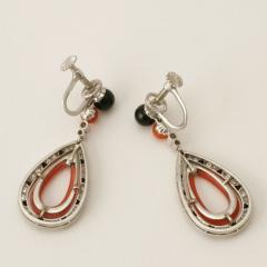 French Art Deco Coral Diamond Onyx and Platinum Earrings - 252674