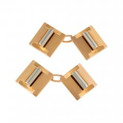 French Art Deco Gold and Platinum Cuff Links - 134489