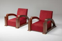 French Art Deco Lounge Chairs in Red Striped Velvet and with Swoosh Armrests - 2048380