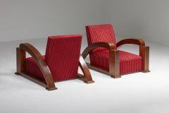 French Art Deco Lounge Chairs in Red Striped Velvet and with Swoosh Armrests - 2048382