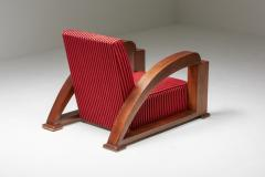 French Art Deco Lounge Chairs in Red Striped Velvet and with Swoosh Armrests - 2048387