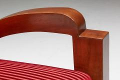 French Art Deco Lounge Chairs in Red Striped Velvet and with Swoosh Armrests - 2048388