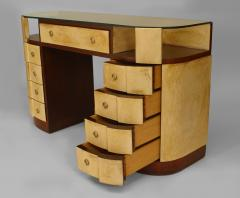 French Art Deco Mahogany and Parchment Veneered D Shaped Dressing Table Desk - 428920