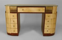 French Art Deco Mahogany and Parchment Veneered D Shaped Dressing Table Desk - 428921